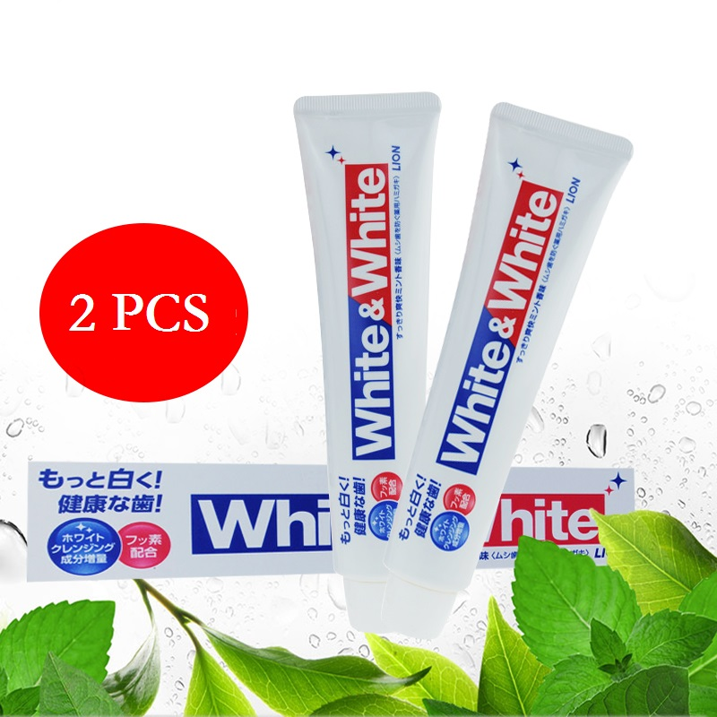 2PCS Japan Lion White&White Toothpaste Dental daily use Whitening Strengthen teeth Remove smokers stains dirt, plague, bad smell abel james white plague