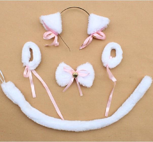 Косплей-Одежда плюшевая черный neko уши ободок с ушками галстук-бабочка браслет с хвостом животного декор для Хэллоуина, вечеринки предметы для вечеринки - Цвет: white cat