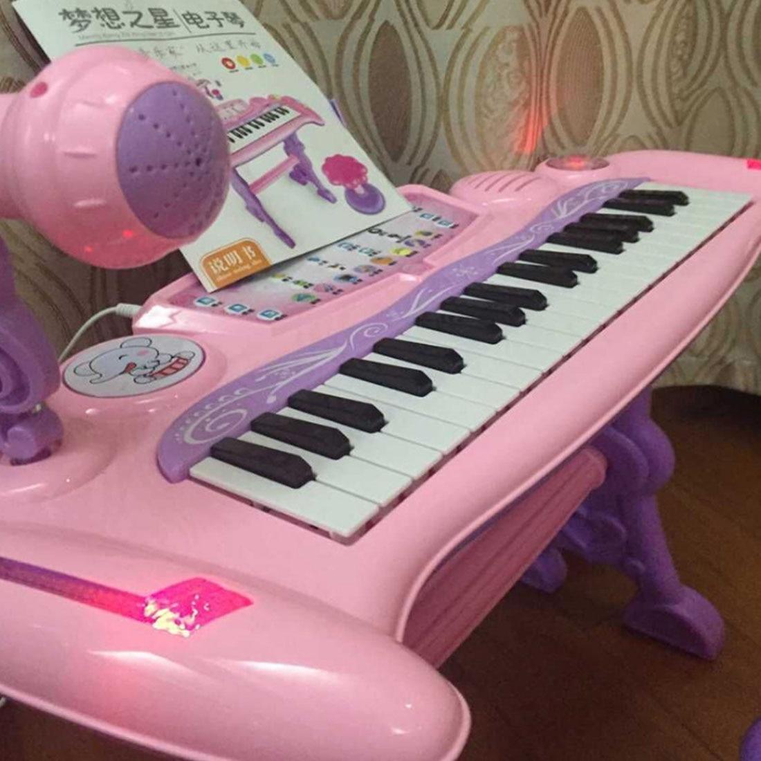 Juguete Musical Chargable para niños 37 teclas de órgano electrónico con micrófono y taburete para niñas juguetes de educación temprana para niños - 4