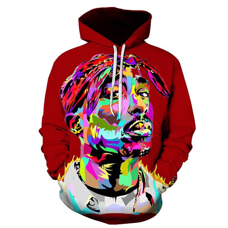 BZPOVB 3d Hoodie Tupac 2pac Sweatshirt Pullovers Spring Long-Sleeve Rapper Hip-Hop