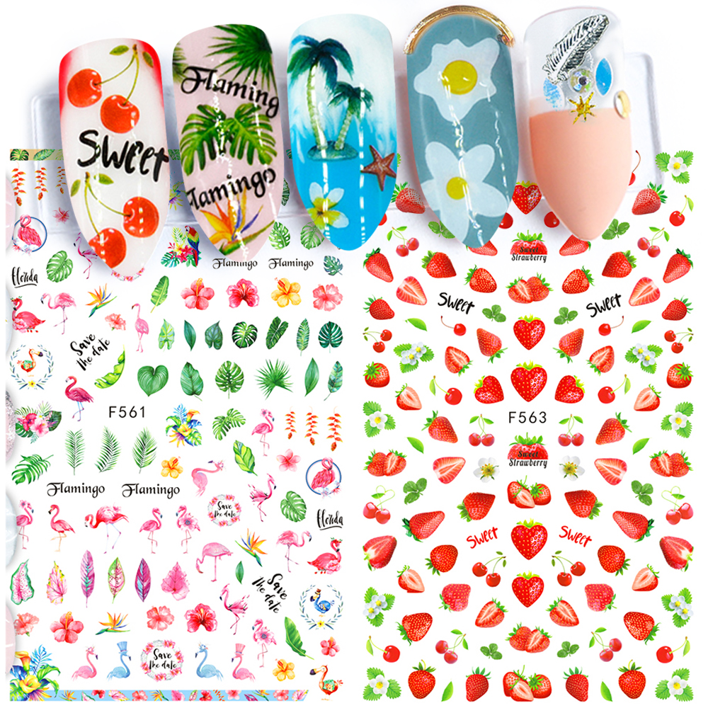 1pc Summer Nail Sticker 3D Self Adhesive Decal Flamingo Strawberry Letter Full Wraps Cartoon Nail Slider Tip Manicure SAF554-563
