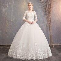 2019 New Arrival Do Dower Half Sleeve Wedding Dress Lace Ball Gown Princess Simple Wedding Gown Bride Dress Vestido De Noiva