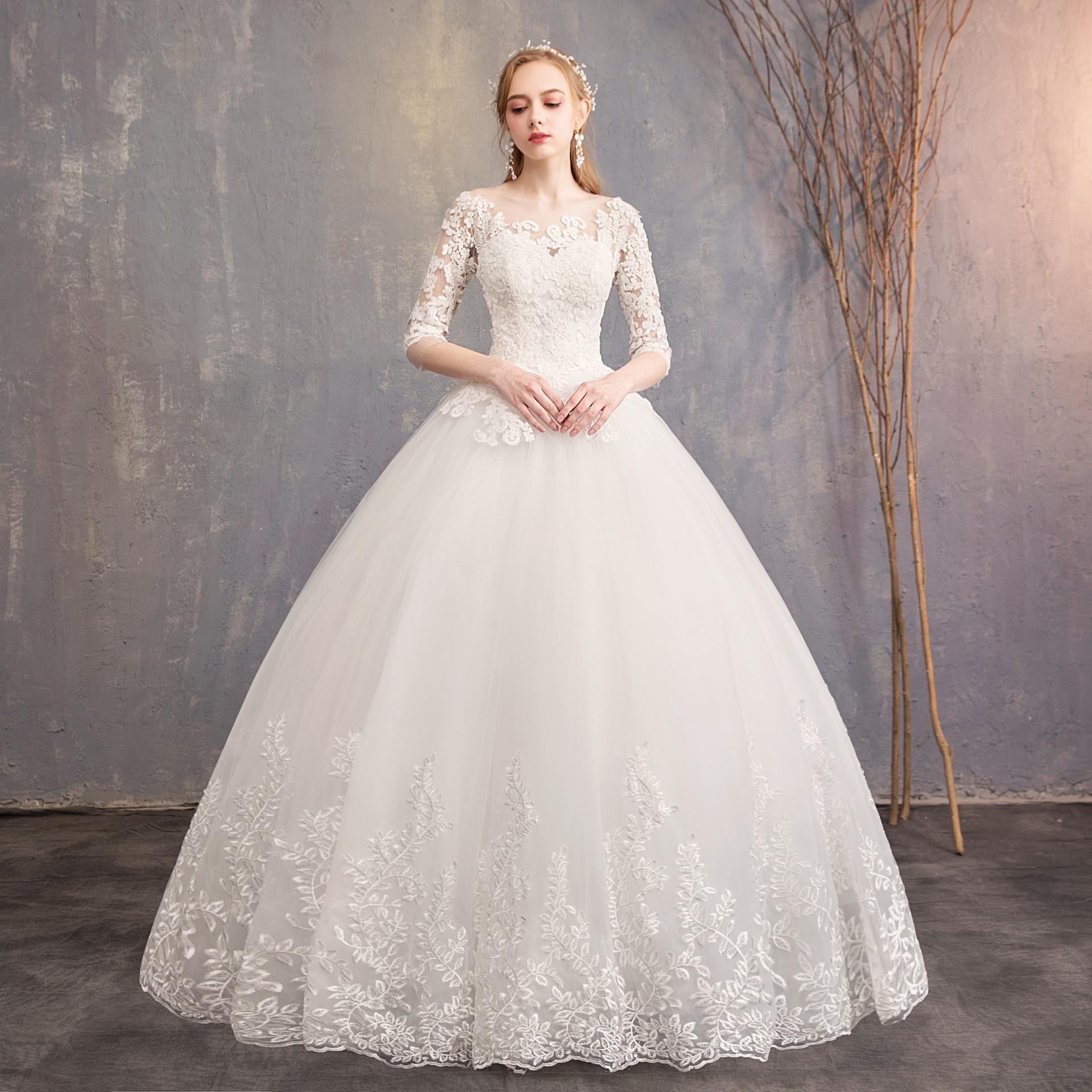 2019 New Arrival EZKUNTZA Half Sleeve Wedding Dress Lace Ball Gown Princess Simple Wedding Gown Bride Dress Vestido De Noiva