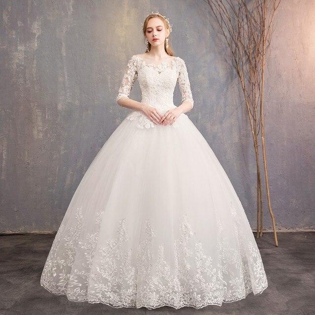 2021 New Arrival EZKUNTZA Half Sleeve Wedding Dress Lace Ball Gown Princess Simple Plus Size Bride Dress Vestido De Noiva