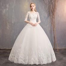 2021 New Arrival EZKUNTZA pół rękawa suknia ślubna koronkowa suknia księżniczka proste Plus rozmiar suknia dla panny młodej Vestido De Noiva