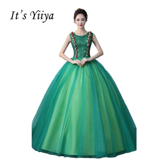 It\'s Yiiya Green O neck Wedding Dresses Ball Gown Appliques Floor ...