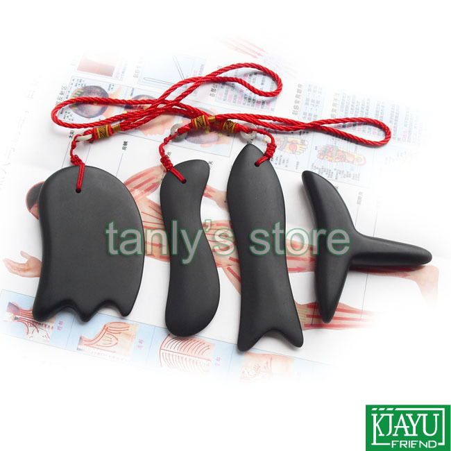 Wholesale & Retail Traditional Acupuncture Massage Tool Guasha plate natural Bian stone (cone+knife+fish+S shape) 4pcs/set wholesale and retail traditional acupuncture massage tool natural 5a red yellow bian stone guasha board 100x60x8mm scrapping