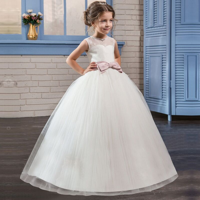 White   Flower     Girl     Dress   Kid   Girls   First Communion   Dresses   Tulle Lace Wedding Long Princess Bridesmaids Costume For Teen   Girls