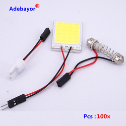 100 x Dome t10 194 w5w 24 SMD  COB LED Car Panel light Interior Room Car Light Bulb Lamp white