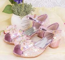 Новорічні літні дівчата Принцеса Сандалії Дитяче взуття Дитячі дівчата Весільні туфлі На високих підборах Шкіряні черевики взуття Корейський стиль 4-12