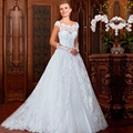 Vestido де Noiva 2016 A-LINE Свадебные Платья Халат Де Mariage Плюс размер тюль кружева аппликация свадебные