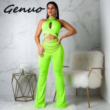 Sexy bodysuit tracksuit rompers womens jumpsuit sleeveless backless solid flare pnats hollow out overalls combinaison femme цена и фото