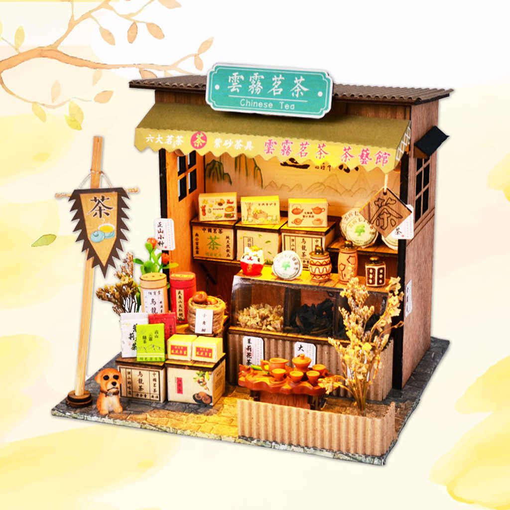 1/24 DIY Miniature Chinese Dollhouse Kits with Furniture Light - Teahouse