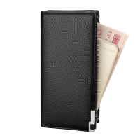 Men Wallets Long Zipper Genuine Leather Wallet Men Luxury Brand Coin Purse Large Capacity Male Clutch Card Holder Wallet Black