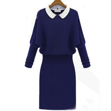 Long Sleeve Turn down Collar Pullover Knitted Sweater Dress Women Dress Spring And Autumn Women Brand
