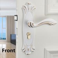 Modern simple white black indoor weenden door lock , european fashion ivory white Bedroom study kitchen solid wooden door locks