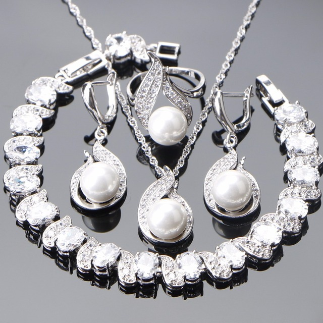 925 Sterling Silver Bridal Pearl Jewelry Sets