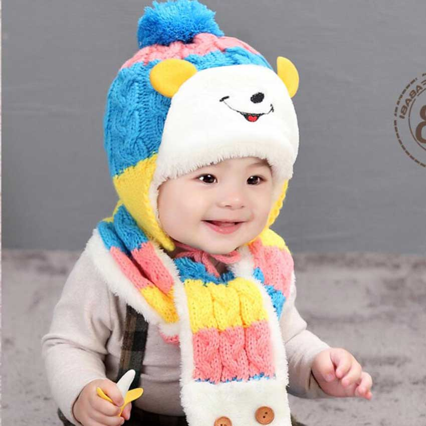 Winter Baby Girl Hat And Scarf Set For Child Boy Kids Smiling Face Cartoon Design Stripe Knit Beanie Cap Scarves Warm 2 Pcs Suit
