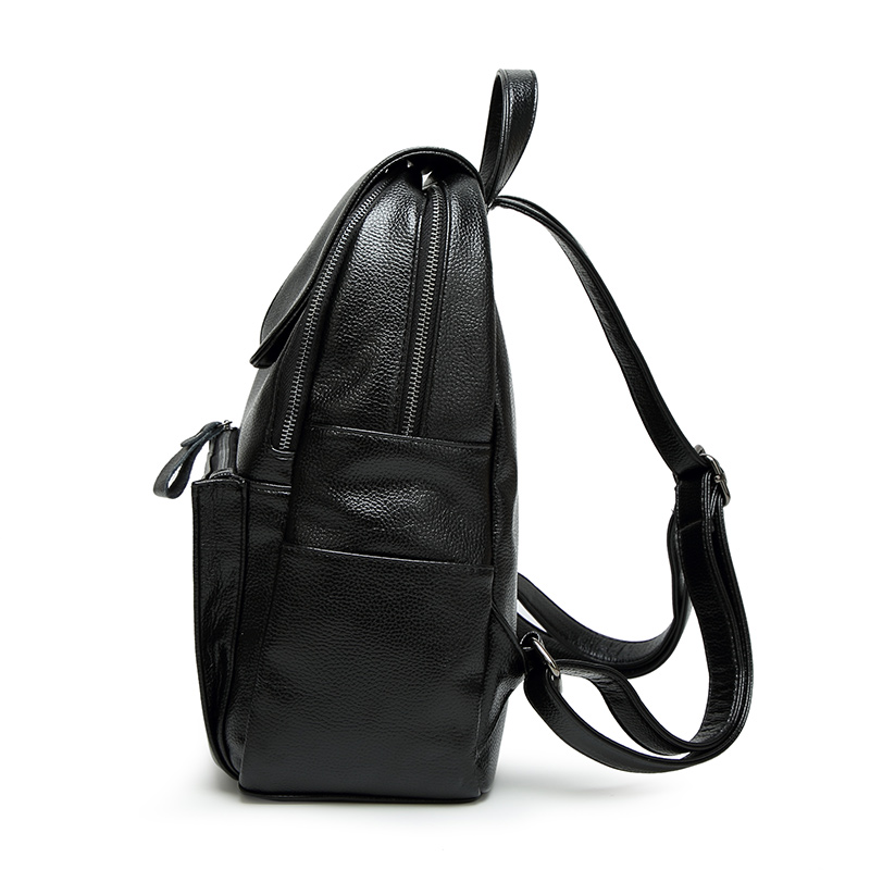 QINRANGUIO Cow Leather Women Backpack 2018 Fashion School Bags for Teenage Girls Black Backpack Genuine Leather Backpack Women