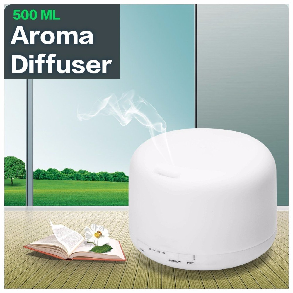 500ml Air Humidifier Essentiel Oil Aromatherapy Machine 7 Color Change LED Light Ultrasonic Humidifier Aroma Diffuser for Home