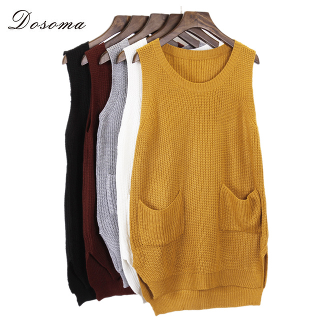 5 colors sleeveless sweater vest women 2016 fashion V neck sweater ...