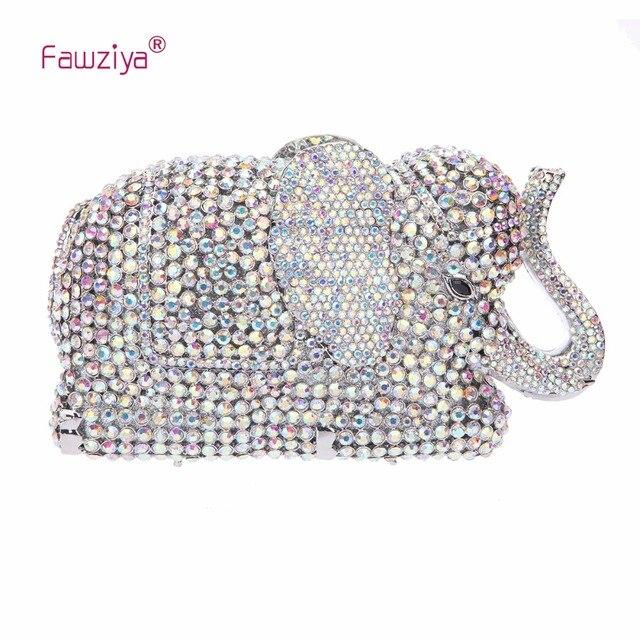 Fawziya Crystal Elephant Clutch Purse Wedding Handbags And Clutches