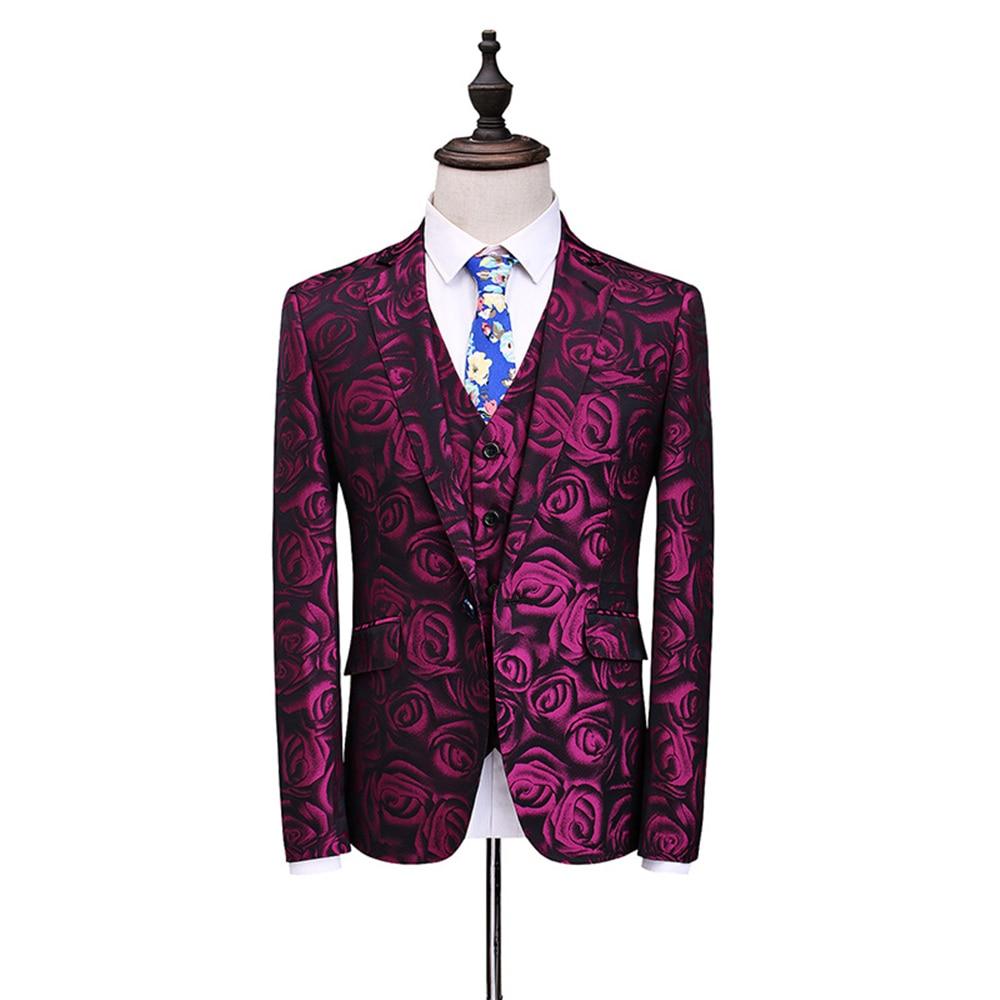 Slim 5xl Fit Bal Fleur Floral Motif Pièces Mariage Costumes Costume S veste Trois Pantalon De Red Partie Hommes Rose Gilet 2017 H8q0AA