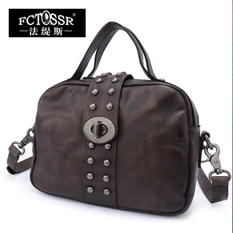 Women Bags 2017 Genuine Leather Vintage Top Handle Bag Messenger Bag Shoulder Bags Female Handbag Shell Rivet Metal Lock