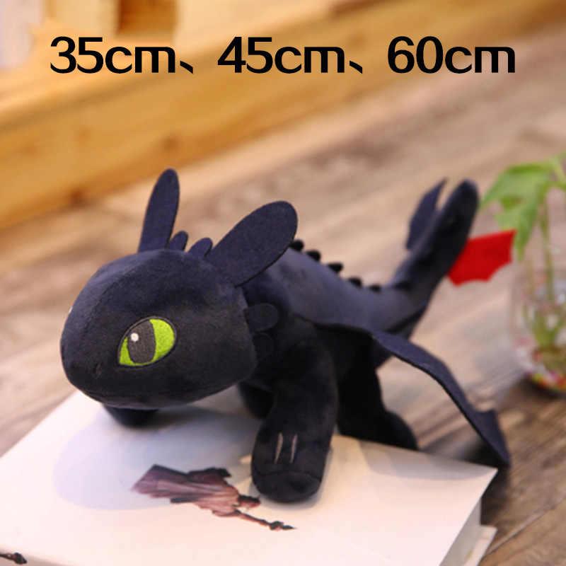 35cm 45cm 60cm como treinar seu dragão 3 toothless c brinquedos anime figura fúria da noite dragão boneca de pelúcia brinquedos para crianças