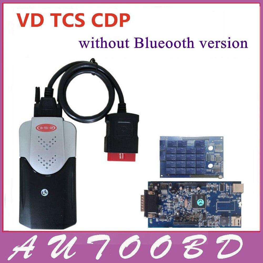 Цена за Новый Vci (2014 R2/R3 + Бесплатный Активировать) В. Д. TCS CDP Без Bluetooth Диагностический инструмент cdp pro для мультибрендовый Автомобили и Грузовики и Generic OBD2