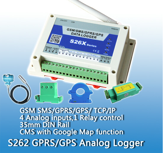 S262 Free Shipping GSM GPRS Analog logger with 4 analog inputs monitor (Weather Station temperature  humidity  time  Wind Speed)|logger|logger temperature|  - title=