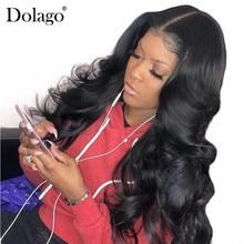 바디 웨이브 13x6 레이스 프런트 인간의 머리 가발 여성을위한 250% 밀도 레이스 정면 가발 베이비 헤어 블랙 dolago 레미 풀 엔드