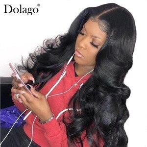 La onda del cuerpo de la 13x6 frente de encaje pelucas de cabello humano para las mujeres 250% de densidad peluca Frontal de encaje con cabello de bebé negro Dolago Remy termina