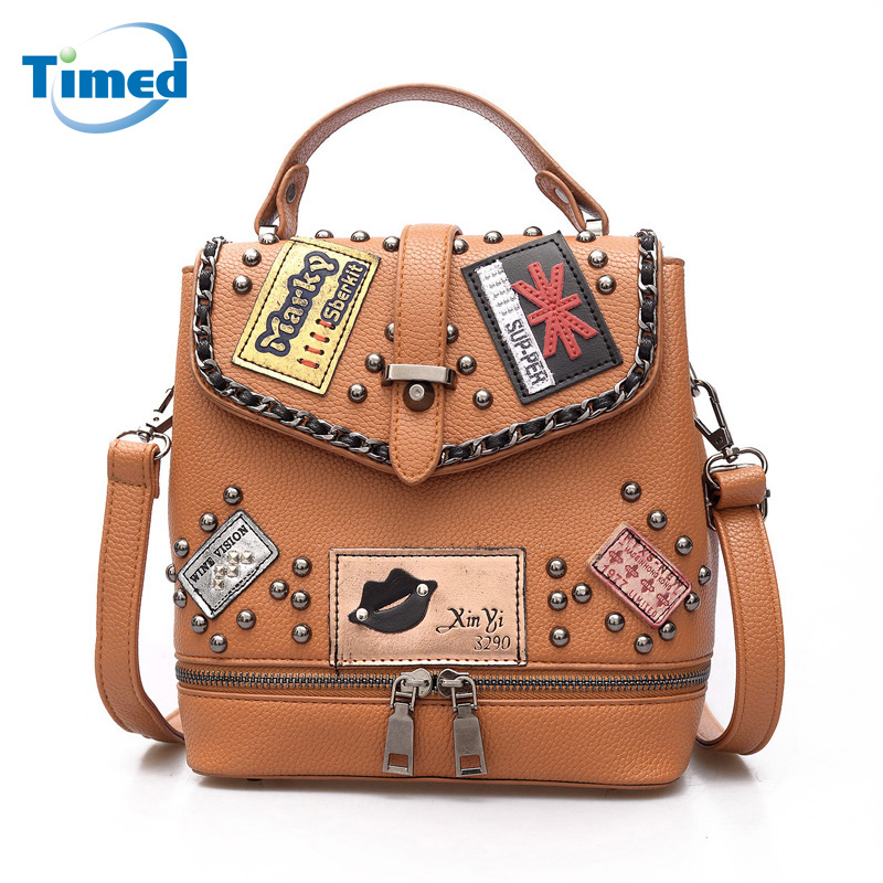 Hot Sale 2017 New Women Pu Hasp Backpack Fashion Lady Rivet Shoulder Travel Bags For Female New design Preppy Style School Bag preppy style brand new design women fashion backpacks vintage rivet leather waterproof shoulder bags travel escolar bolsas cc28