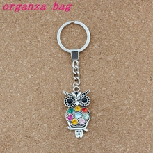 10pcs Keychain Colorful Crystal Owl Alloy Charms Pendants Key Ring Travel Protection DIY Accessories S-7