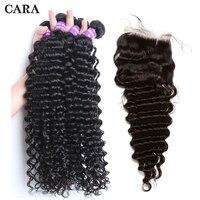 Бразильский глубокая волна Связки с закрытием Волосы remy Связки 4 волос ткань 4x4 кружева Закрытие натуральных волос CARA
