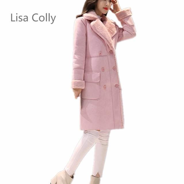 US $43.24 29% OFF|Lisa Colly Mode 2018 Winter Frauen Pelzmantel frauen Faux Pelz mantel Jacke Wollmantel Mantel Langarm Rosa Grau Warm Outwear in