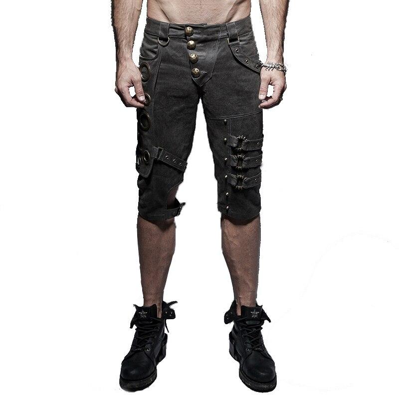 Панк рок Для мужчин Тонкий Короткие штаны стимпанк Рубашки домашние заклепки блестками мыть старый Весна Хлопок Шорты для женщин