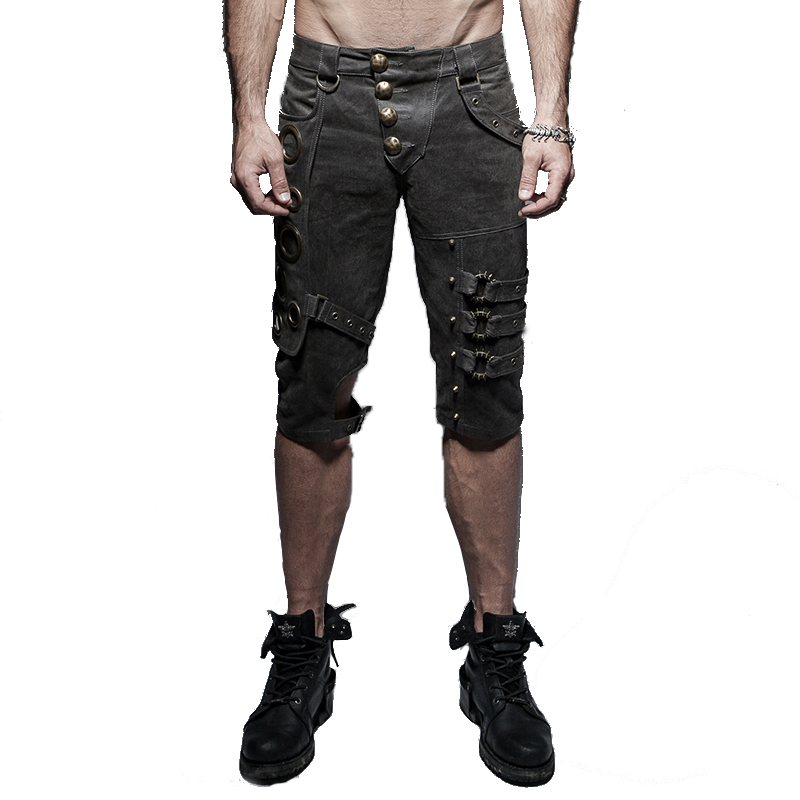 punk style Mens Casual Shorts Cotton Breathable Five Pants Fashion Casual Print Summer White