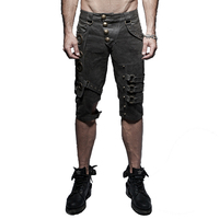 Punk Rock Men Slim Short Pants Steampunk Casual Shorts Rivet Sequined Washed Old Spring Cotton Shorts