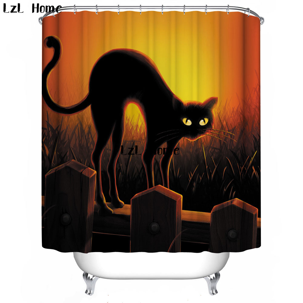 LzL Home 3D Cartoon Cat Shower Curtain Waterproof Fabric Bathroom Curtain  High Quality Eco Friendly