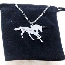 Unicornio caballo unicornio collar mágico de la Operación Licorne de grabar nombre/cartas libre mejor regalo para las niñas, envío de la gota YP6080