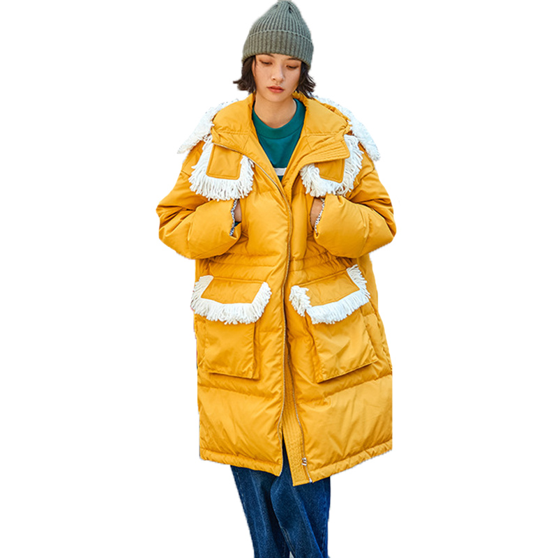 Yellow Winter Long Jacket Women Tops White Duck   Down     Coat   Female Clothes Plus Size European Vintage Casual Outerwear A611