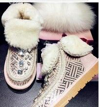 หนังแกะรองเท้าหิมะผู้หญิงฤดูหนาวบู๊ทส์พลัสขนาด40-43กันน้ำผ้าฝ้ายเบาะอุ่นหรูหราR Hinestone Botas Feminina