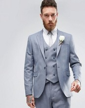 Latest Coat Pant Designs Light Grey Double Breasted Formal Custom Best Man Peaked Lapel Suit For Men Slim Fit 3 Pieces Ternos C