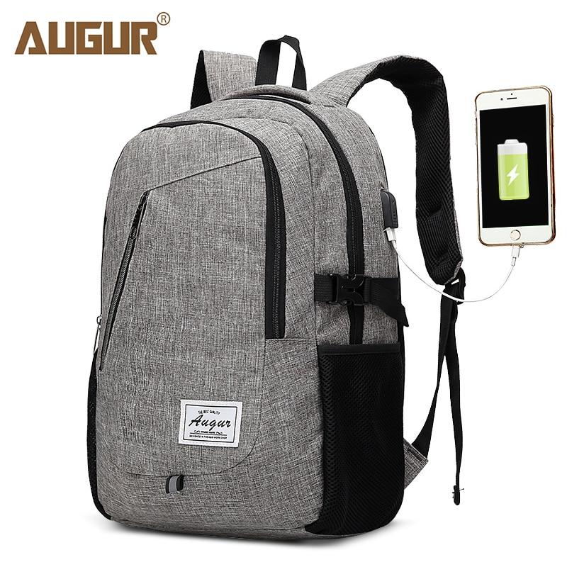 76cb18494d AUGUR New Backpacks USB Charging For Men Women Notebook Laptop Backpack  Casual Travel Teenager Student Back