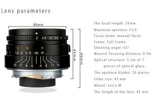 Image 3 - 7 אומנים 35mm F2 גדול צמצם הפרקסיאלית M הר עדשה עבור לייקה מצלמות M M M240 M3 M5 M6 m7 M8 M9 M9P M10 עדשה 35 2