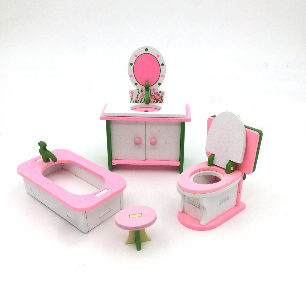 Doub K 3D Wooden DIY Children Educational Puzzle Dollhouse Pretend Play Furniture Mini Toys Household Bed For Doll House Toy