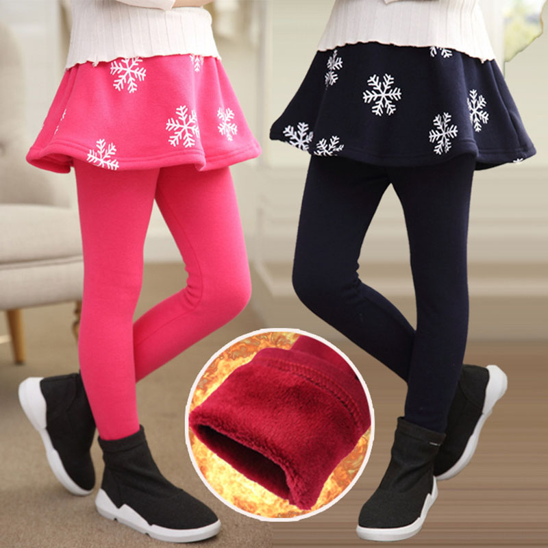 все цены на Gilrs Culottes 2018 Winter Retail Girl Leggings Girls Skirt-pants Cake Skirt Girls Warm Plus Velvet Thick Pants Kids Leggings онлайн