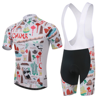 China Men Cycling Bib Set Clothing Outdoor Sports Suit Short Sleeve Jersey 100 Polyester Quick Dry